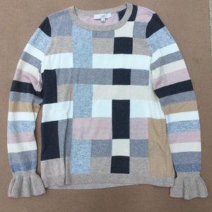 Ann Taylor Loft Blocked Ruffle Cuff Sweater